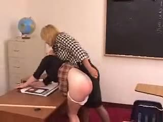 Mature Tough teacher Strikes Her Student With A Paddle