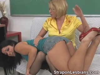 This Strap On Lesbian Spanks Her Student Over her Knees in Class