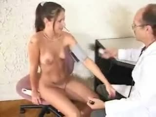 Old Doctor with A Pony Tail Spanks This Young Girl After Her Check Up
