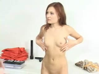 Natural redhead gets naked and fights with female prison guard
