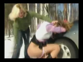Painful Outside Spanking In The Snow