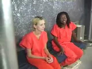 Skinny white felon likes her ebony cell mates sweet tushy
