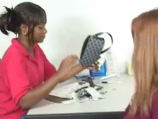 Skinny young first time felon searched by female ebony guard