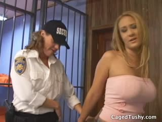 Busty blonde strip searched in her cell