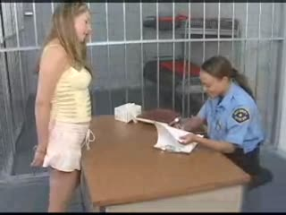 Blonde chick searched and booked in to jail