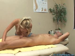 Hot Busy Blonde Give Her Client An Amazing Blow Job And Hand Job On the Massage Table