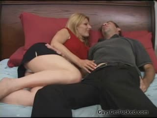 This Tall Blond Loves To Show Her Guy Who's Boss With a Strapon