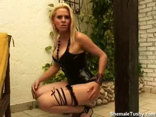 Blonde TGirl Strips and Plays With Herself