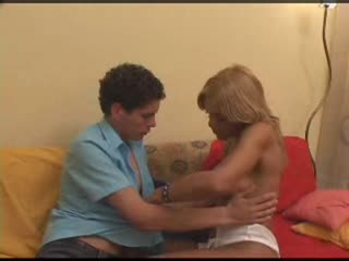 Tanned Shemale With Amazing Body On the Couch with A Lucky Guy