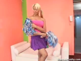Cheerleader Dancing and Tugging Her Cock