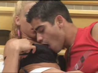 Blonde Tranny and Man Heavy Petting
