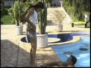Beautiful Tranny Sucking Cock Poolside
