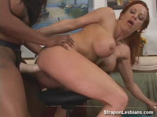 Black Lesbian Fucks This Virgin Red Heads Pussy Strapon