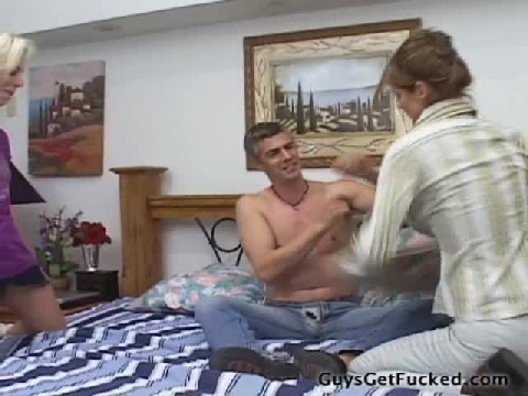 Two Femdom Sluts Fuck A Guy In Bed