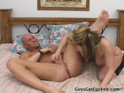 Busty Blond Plays With Her Mans Butt Hole