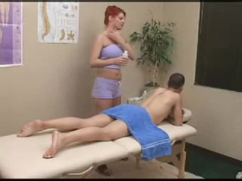 Red Head Woman Fucks This Guy With Her Strap-On After His Full Body Massage