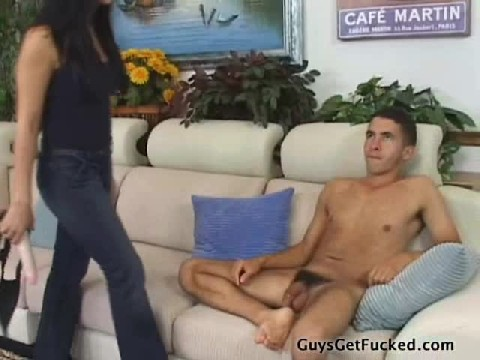 Girl With A Huge Strapon Fucks Young Guy