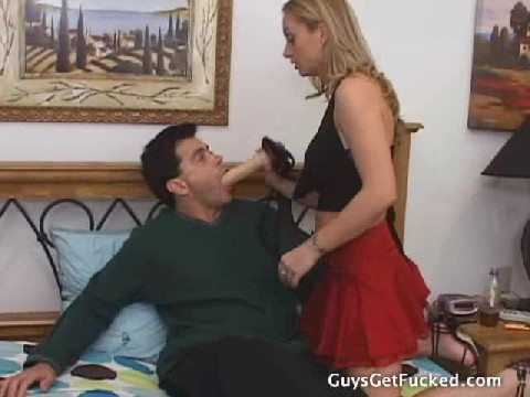 Sexy Red Skirt Girl Fucks Guy With A Strapon