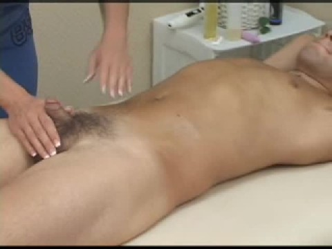 Female Doctor Gives Guy A Hand Job Then Fucks His Ass With Strapon