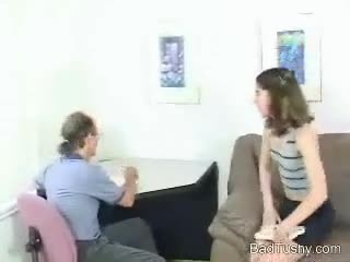 Old Guy Spanks this Girl On The Couch