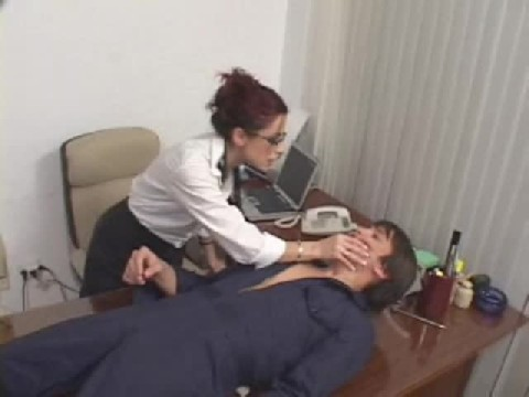 Office Red Head Dominates This Guys Entire Body