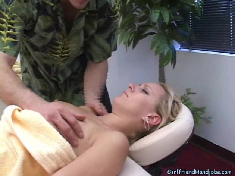 Hot Girl Gets Very Horny from Her Massage And Jerks Off The Guy Giving Her A Massage