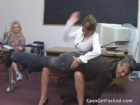 Female Dom Teacher Spanks Student Very Hard In front Of Class