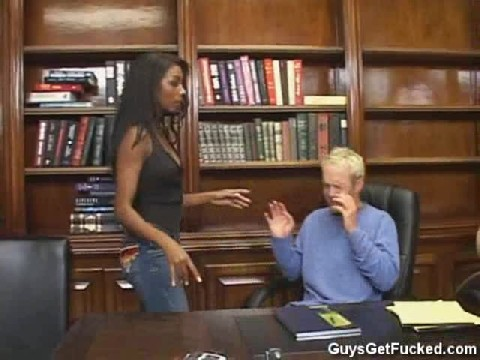 Guy Caught Going Through Female Bosses Desk Gets Fucked With A Strapon
