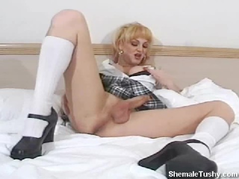 Shemale School Girl Stroking Her Cock In Bed