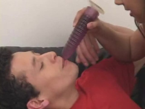 Girl Puts Large Dildo In Mans Mouth And fucks Him