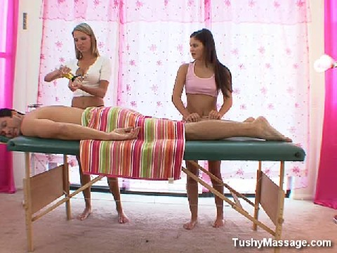 Two Beautiful Woman Massage This Lucky Guy