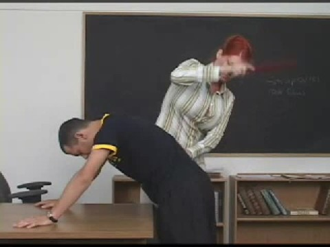 Red Head Teacher Uses Paddle On Guys Ass