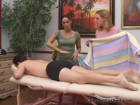 Two Girls give A Guy A Massage and Fuck His Ass With A Strap-On At the End