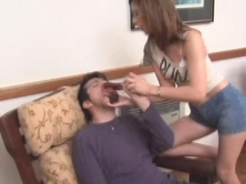 Skinny Hot Dominant Girl  With Her Dildo On Guy